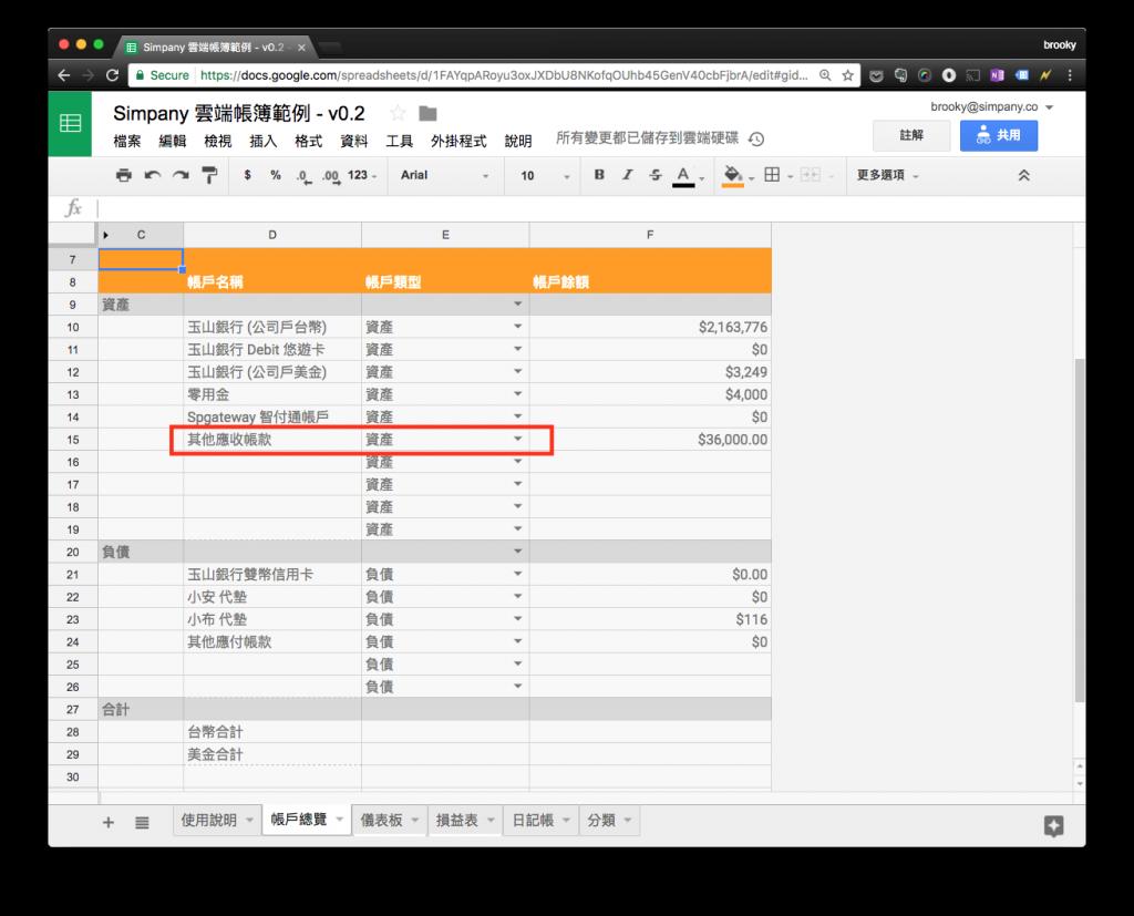 在「Simpany 雲端帳簿」裡設定「應收帳款」為資產的一個項目