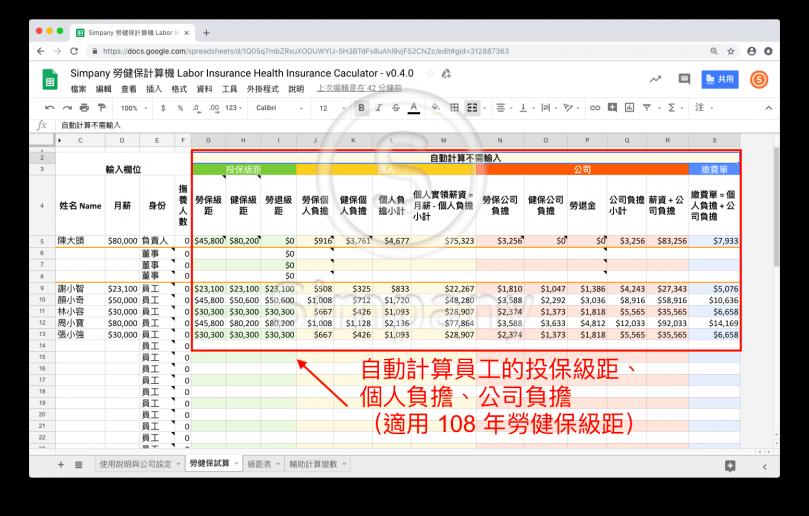 Simpany 勞健保計算機自動算出出個人負擔、公司負擔的金額 (108年版)