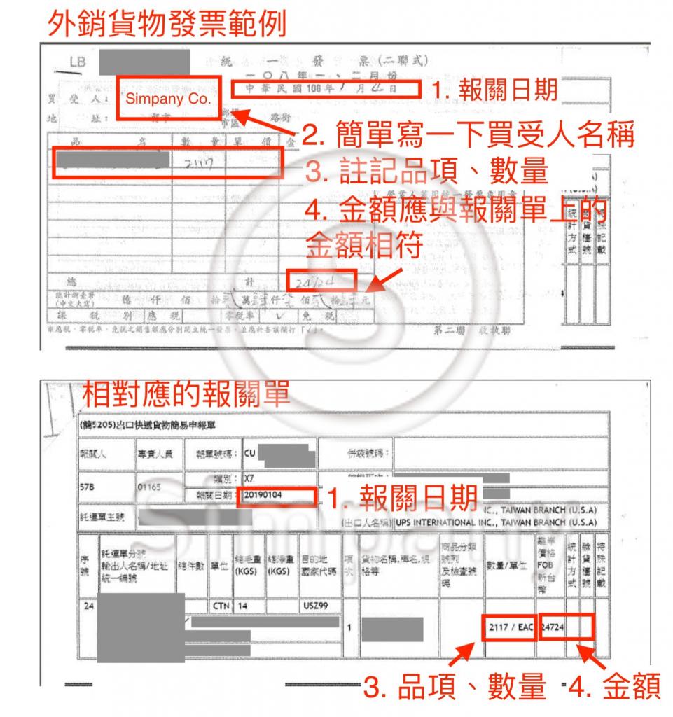 外銷貨物發票範本 - 日期、品項、數量、金額等資訊,都應該與報關單上的資訊相呼應