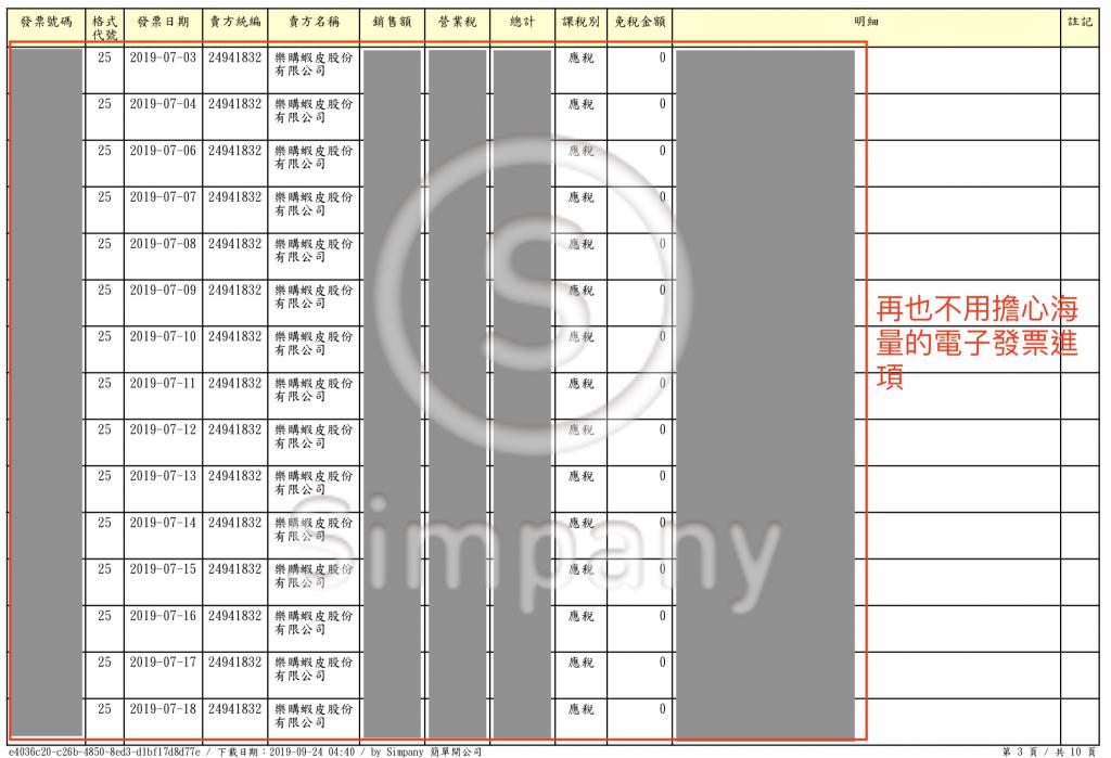 由 Simpany 幫忙整理,網拍賣家再也不用擔心海量的電子發票進項