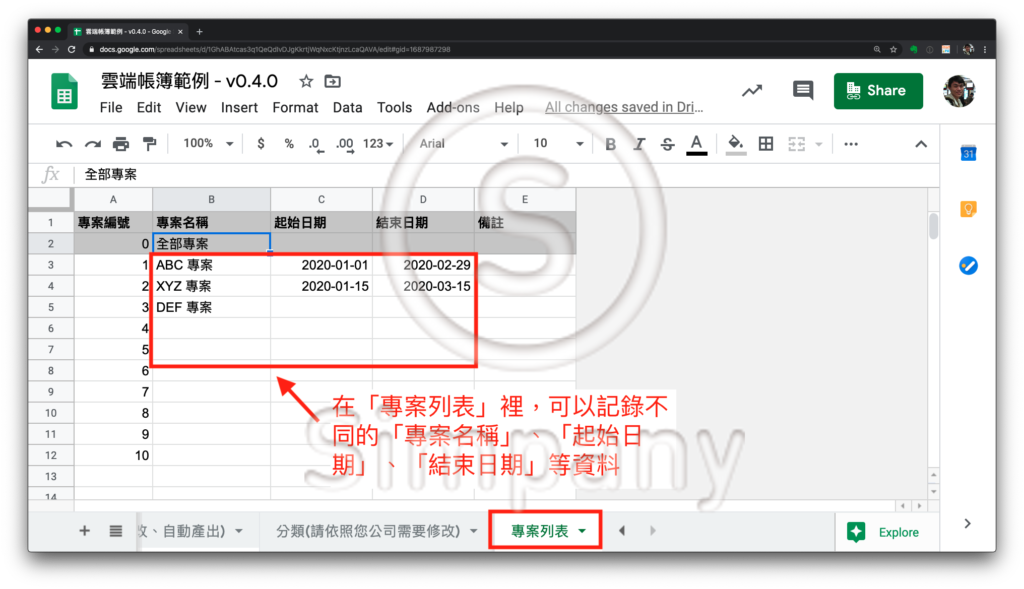 在 Simpany 雲端帳簿 v0.4.0 裡面,新增了一個「專案列表」的分頁。您可以在這個分頁裡面,設定不同專案的資訊。
