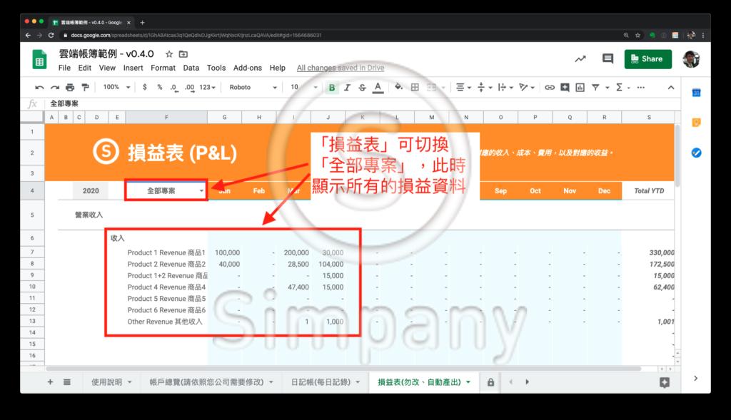 在 Simpany 雲端帳簿 v0.4.0 裡,「損益表」可以切換「全部專案」或是「單一專案」。如果切換到「全部專案」,看到的會是所有的損益資料。